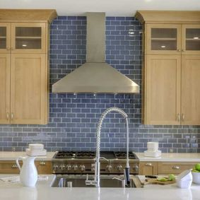kitchen with blue bricks